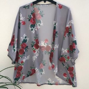 💜Pink Milly Floral Print Kimono Cardigan Cover Up Small